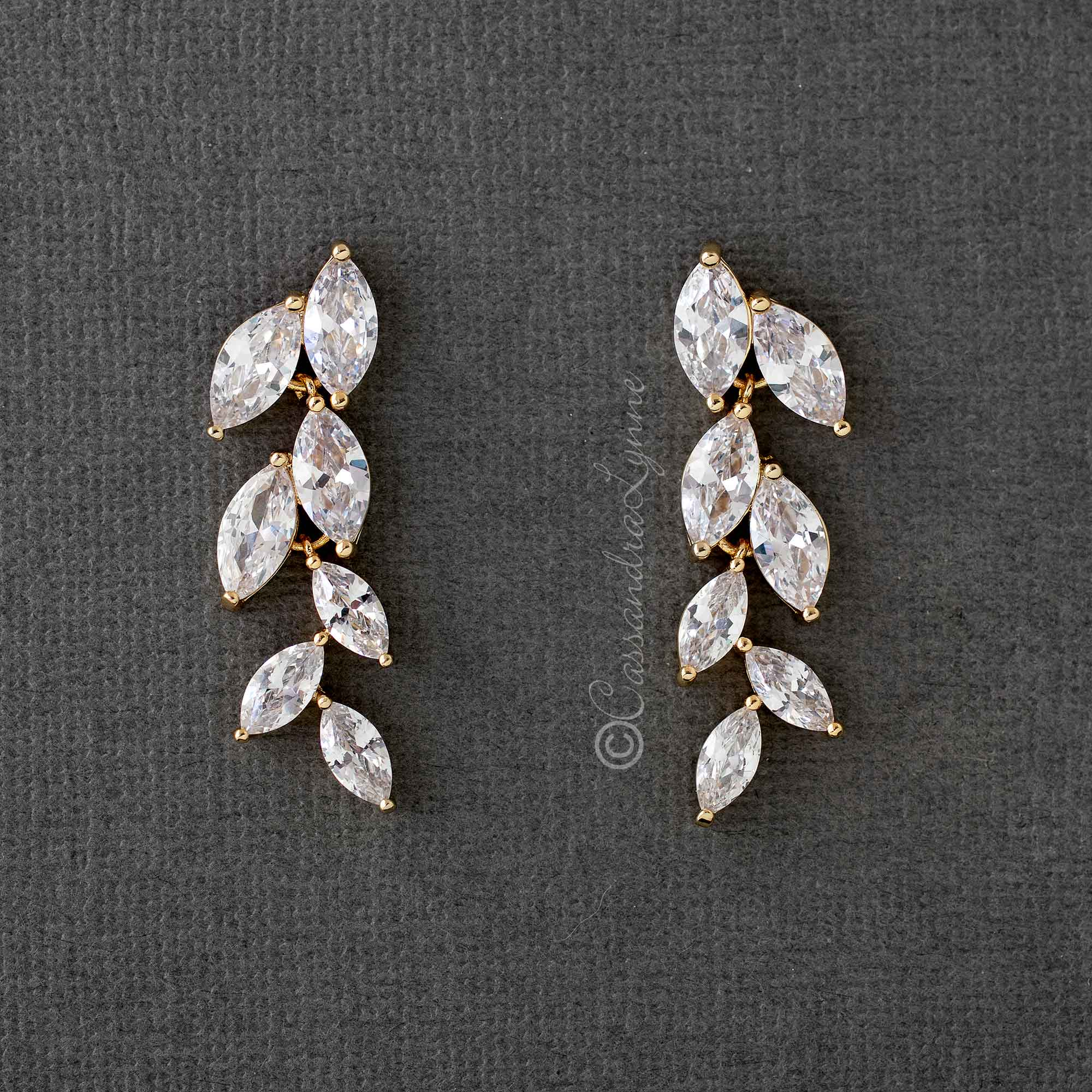 Marquise Leaf Dangle CZ Earrings