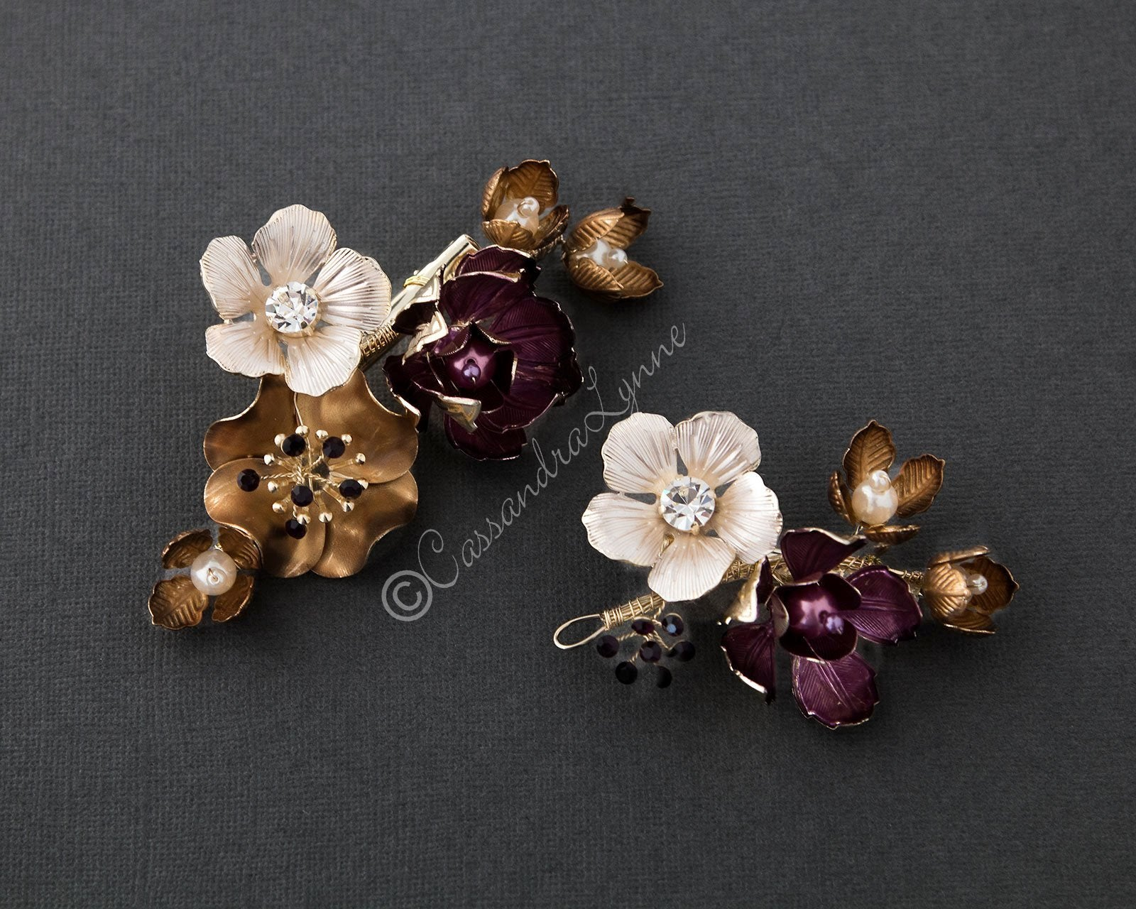 Royal Purple and Gold Flower Hair Clip Set