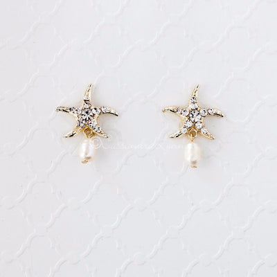 Beach Wedding Day Earrings of Starfish Gold
