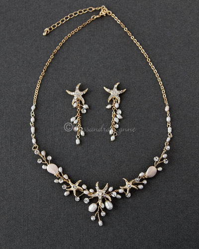 Gold Starfish and Pearl Bridal Necklace Set