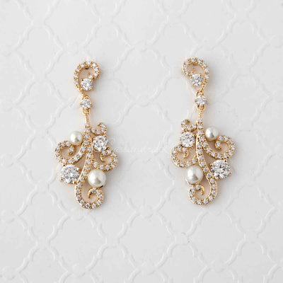 Pearl CZ Earrings with a Swirl Design Gold