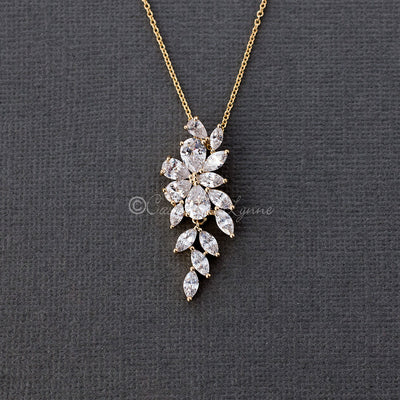 Marquise Flower Vine CZ Pendant Necklace