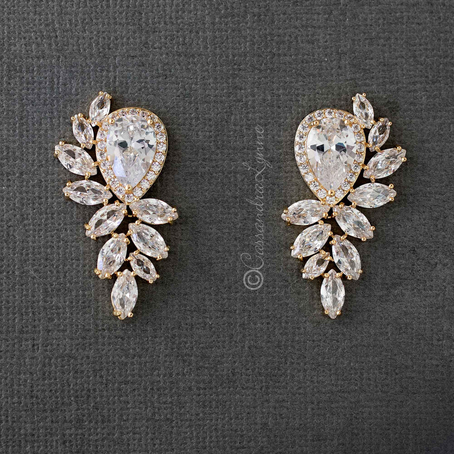Rose gold and gold bridal earrings bracelets and necklaces vintage bridal earrings with cubic zirconia gold arubaitofo Gallery