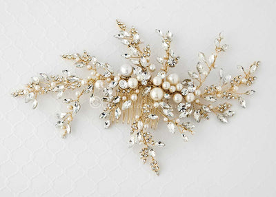 Light Gold Wedding Headpiece with Ivory Pearls Large Spray