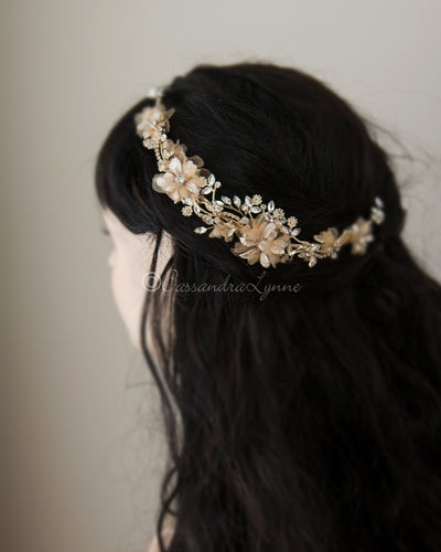 Organza Flowers and Crystals Wedding Hair Piece