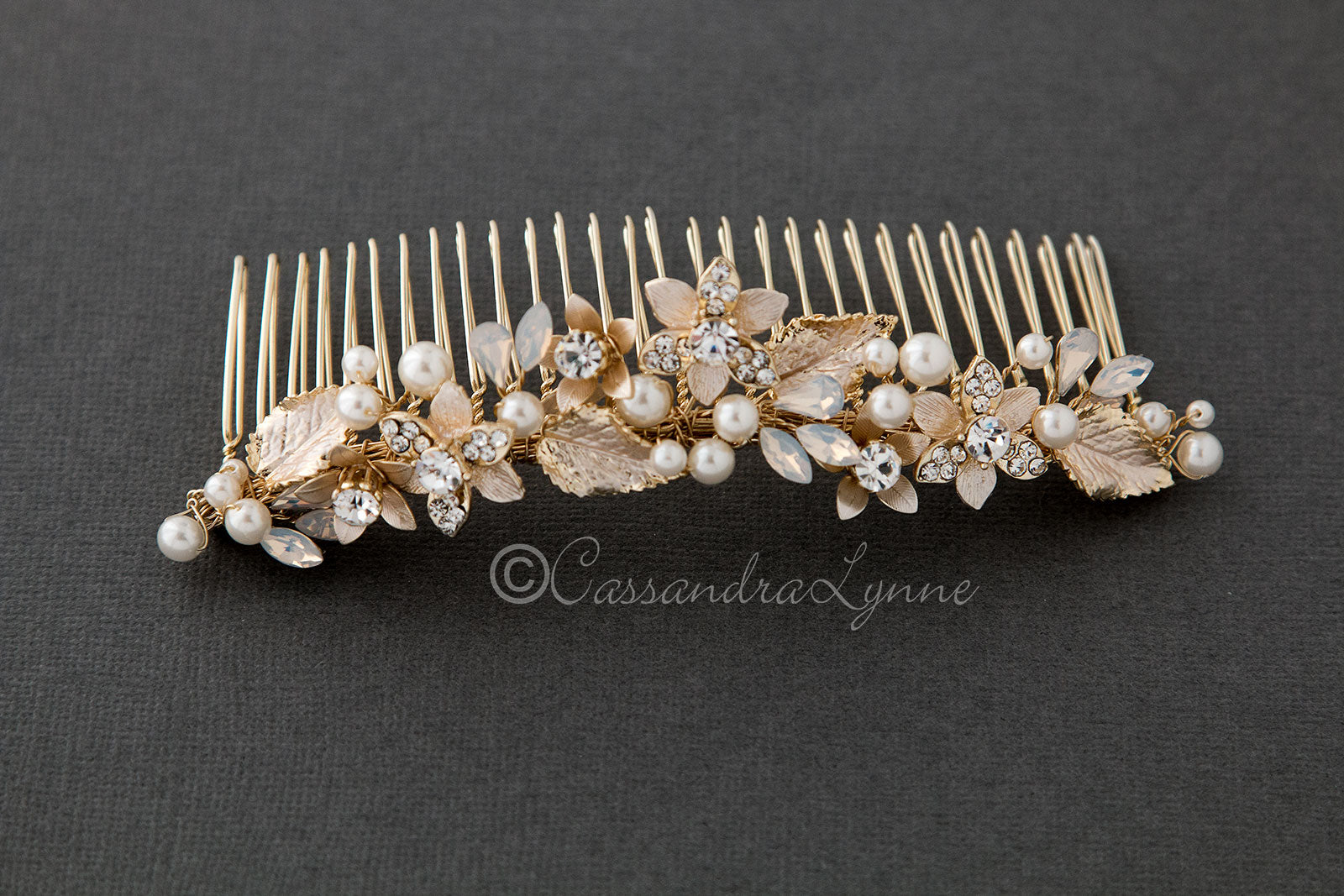 Light Gold Tiara Comb with White Opal Accents