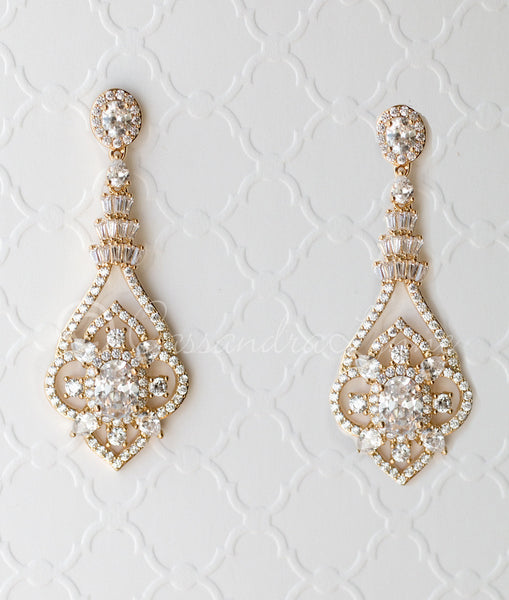 CZ Bridal Jewelry Earrings with Antique Flair