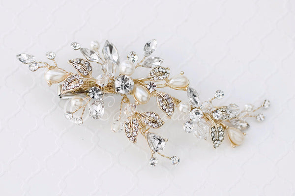 Bridal Hair Clip of Teardrop Pearls Crystals and Rhinestones