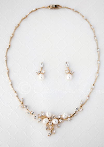 Gold CZ Necklace Set for Bride