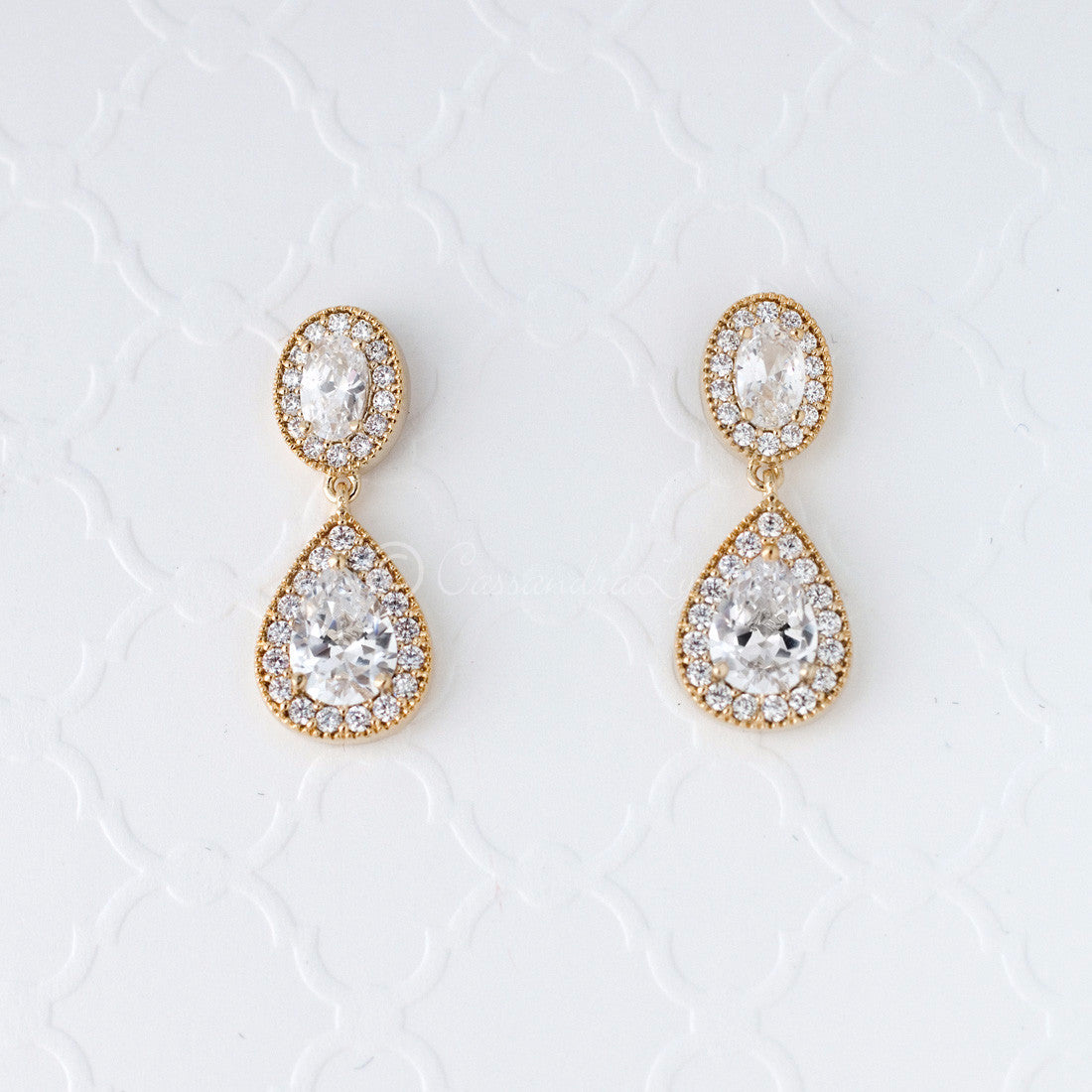 CZ Drop Earrings for Brides of Oval and Teardrop Jewels