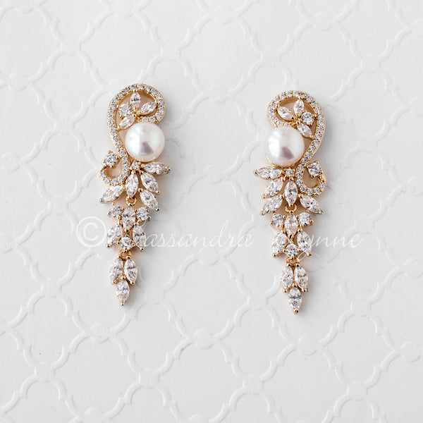 Pearl and CZ Wedding Earrings Gold