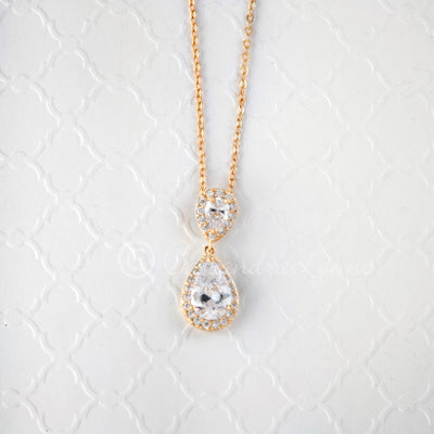 Bridal Necklace Teardrop CZ Gold Rose Gold Silver