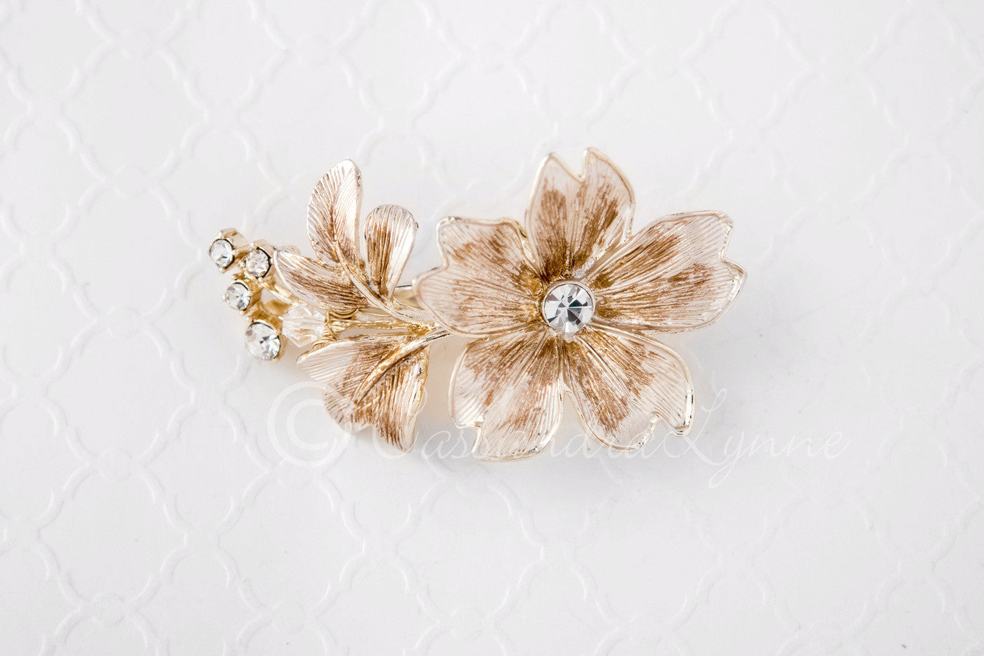 Bridal Flower Hair Clip of Brushed Light Gold