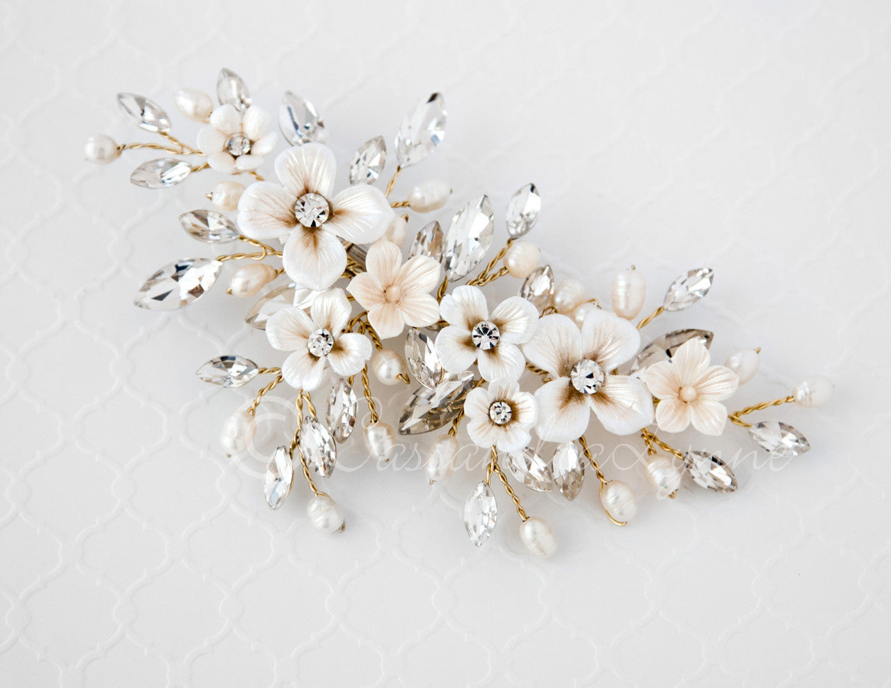 Rose gold wedding hair accessories - Porcelain Flower Pearl And Marquise Crystal Bridal Clip
