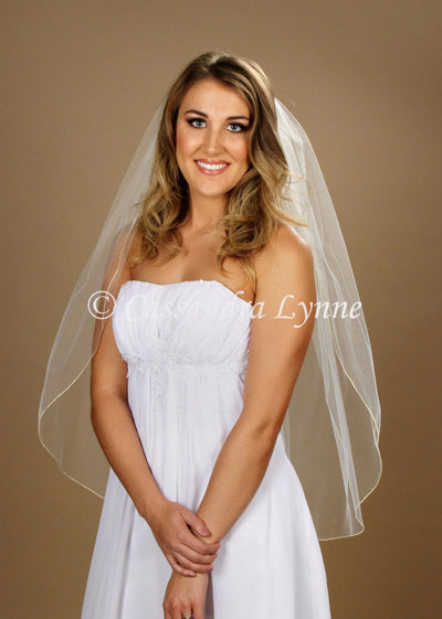 Fingertip Wedding Veil with Gold Metallic Edge