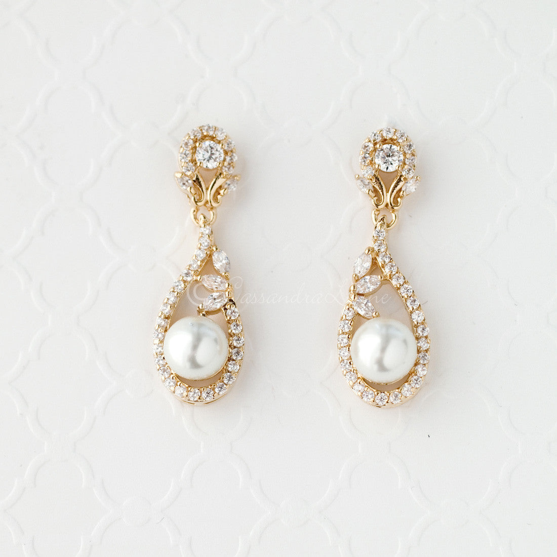 Delicate CZ Drop Earrings with Pearls for the Bride gold