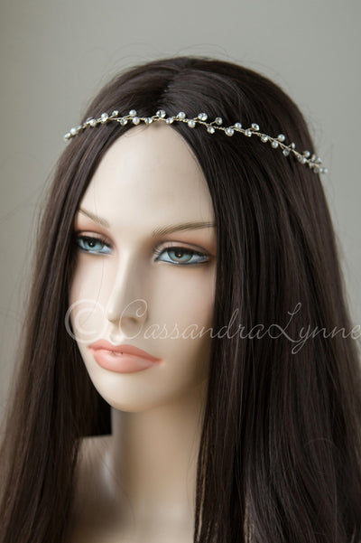 Gold Bridal Hair Vine with Pearls and Rhinestones