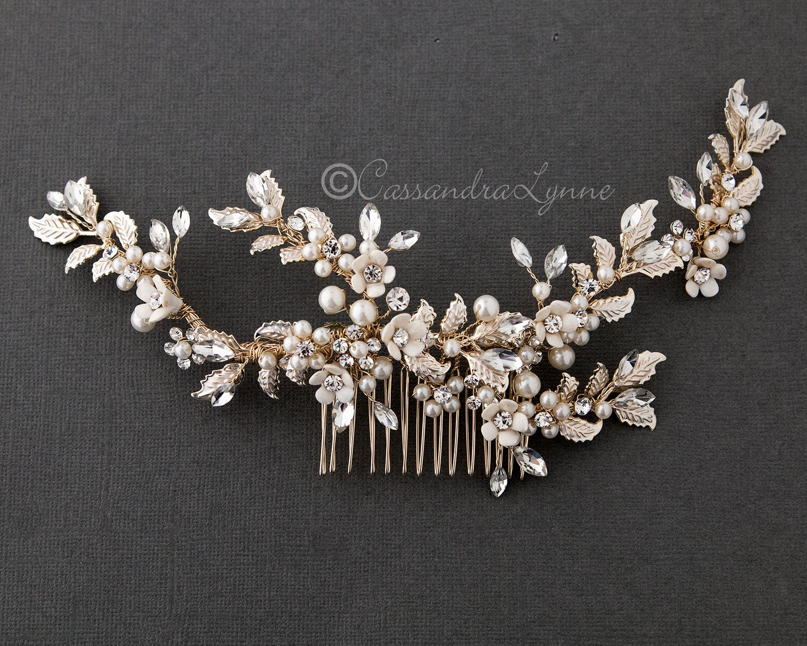 Light Gold Bridal Comb with Porcelain Flowers