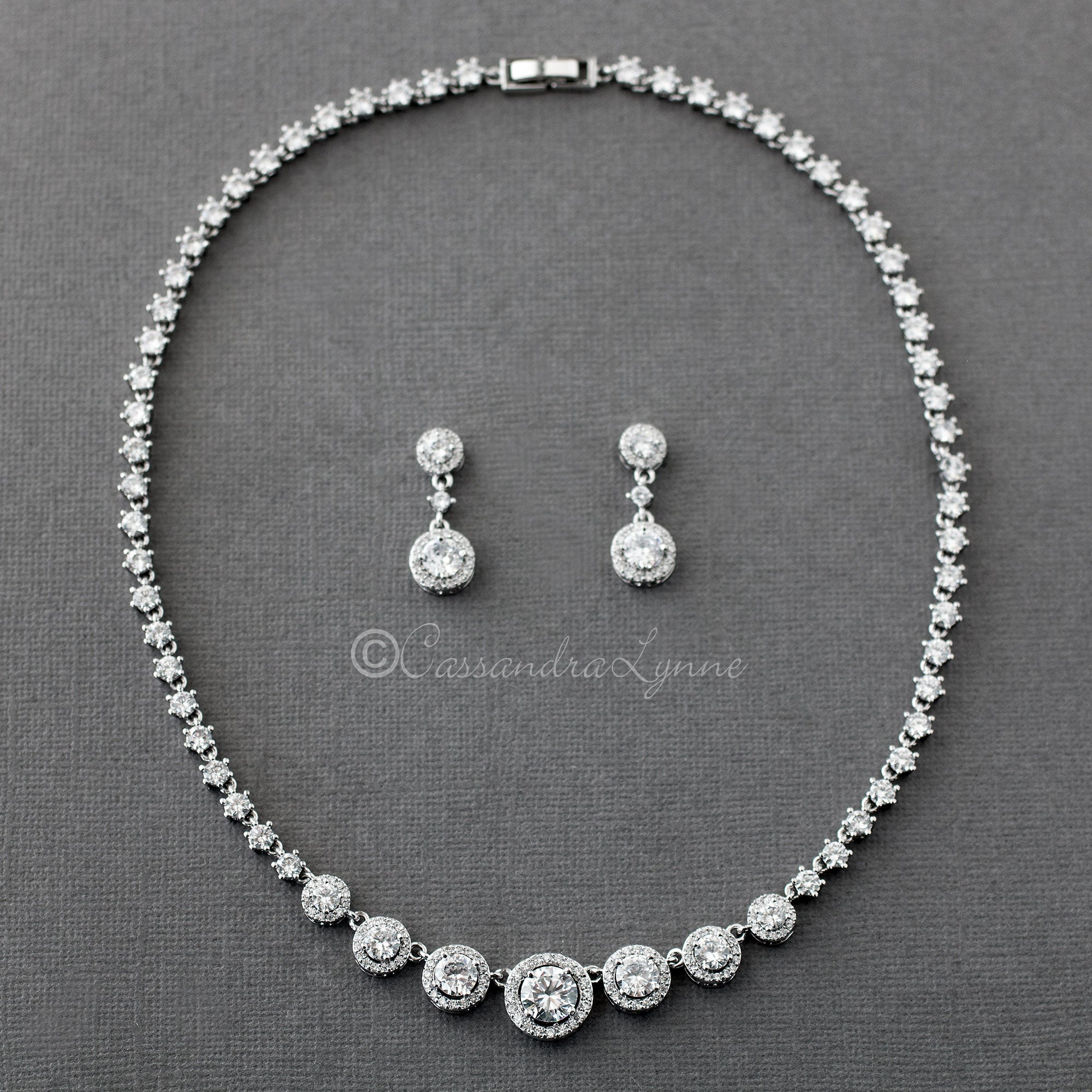 Sterling Silver Pave Circles CZ Bridal Necklace and Earrings