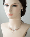 Crystal Wedding Necklace Set in Silver or Rose Gold