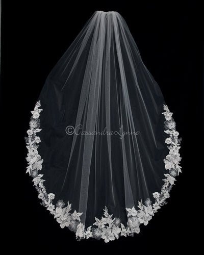 Heavily Beaded Waltz Lace Bridal Veil
