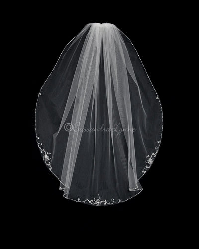 38 Inch Three Pattern Beaded Bridal Veil