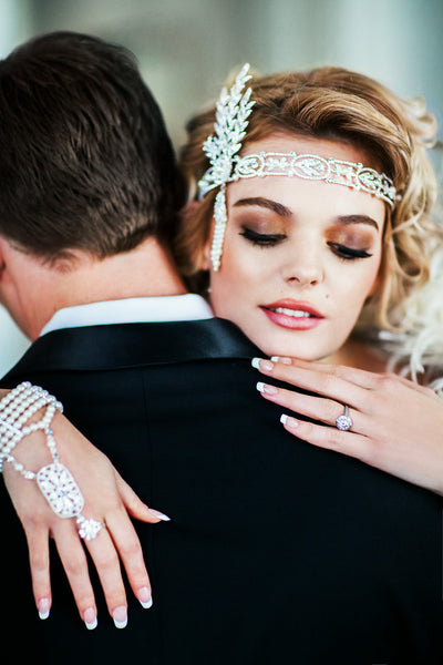 Great Gatsby Wedding Headpiece Headband with Rhinestones and Pearls