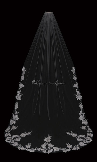 Cathedral Veil with Lace Pearl Beaded Flowers