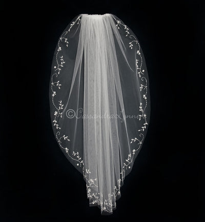 Intricate Design Beaded Bridal Veil