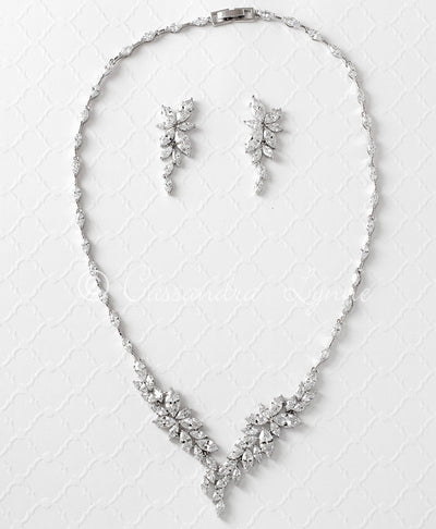 Intricate CZ Leaf Wedding Necklace Set