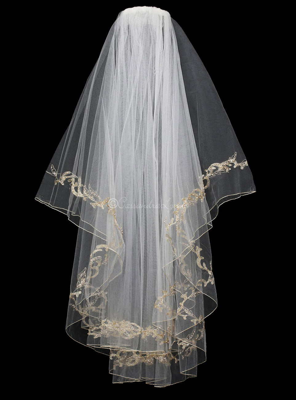 Two Layer Gold Embroidered Wedding Veil