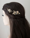 Enamel Flowers and Crystal Wedding Clip