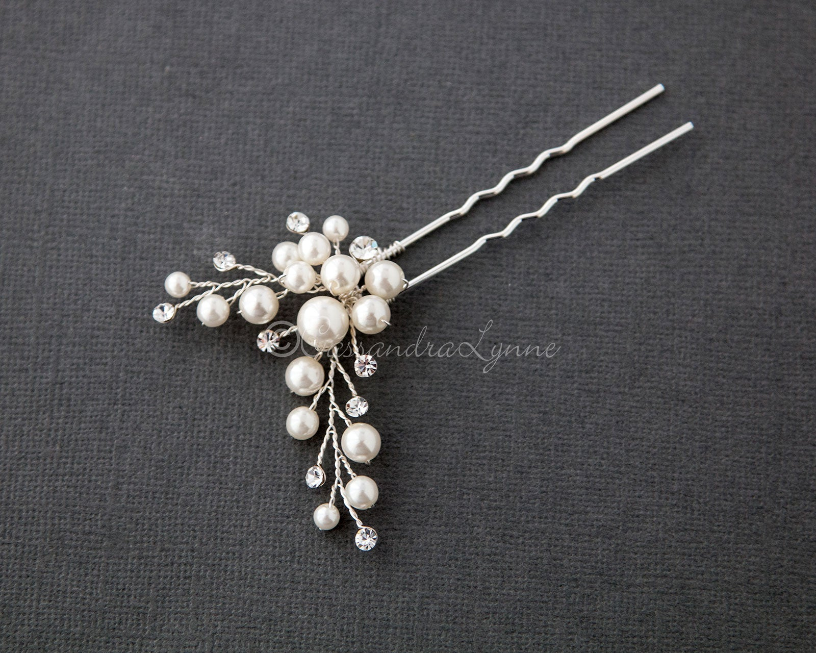 Wedding Hair Pin of Ivory Pearl Cluster and Rhinestones