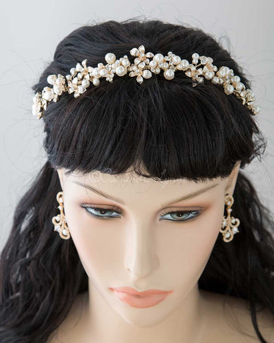 Bridal Headpiece of Flowers and Pearl Clusters