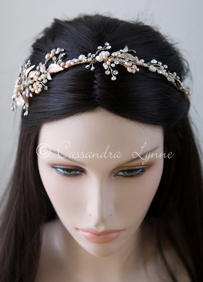 Gold Pearl Wedding Headpiece with Pink Accents