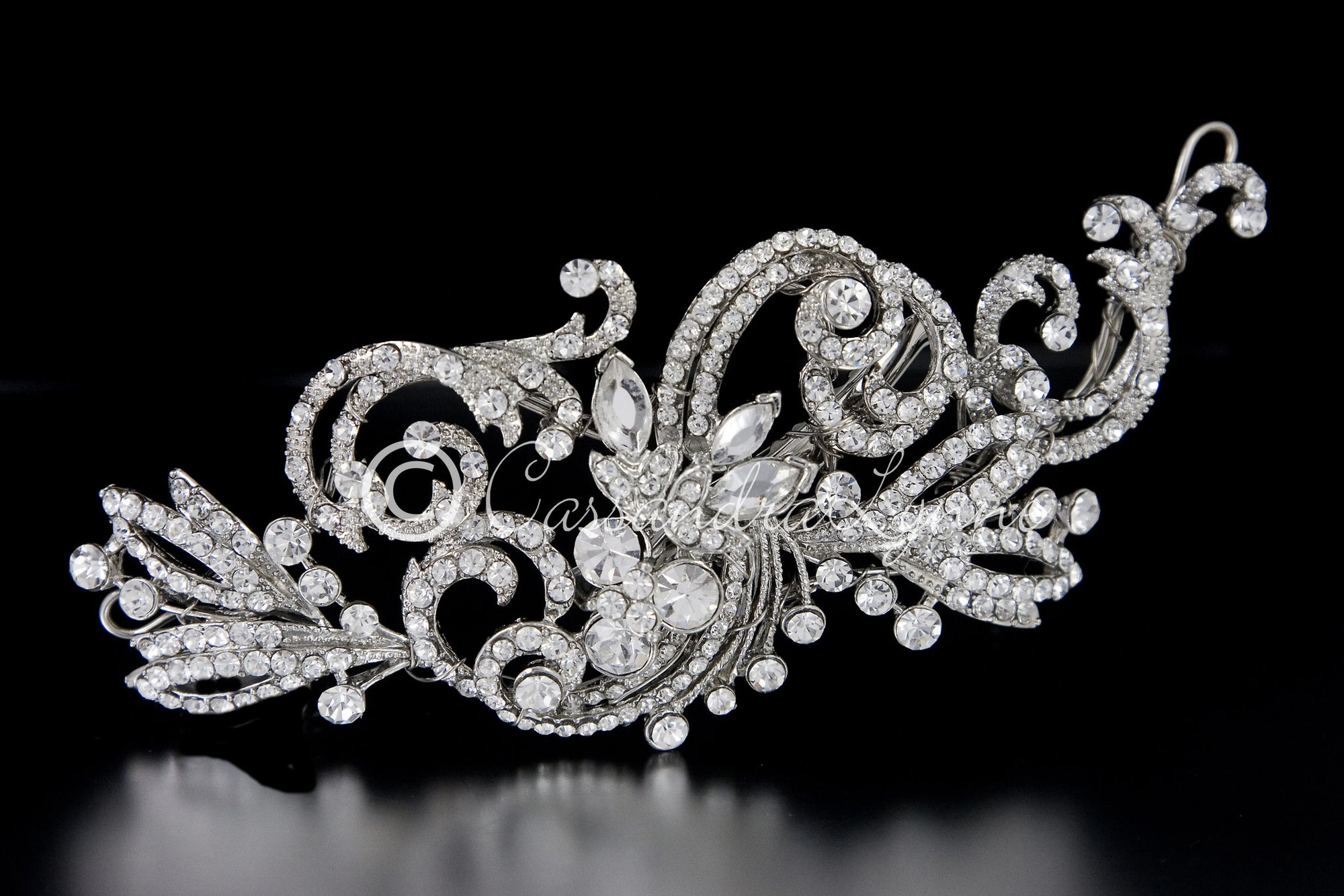 Rhodium Wedding Hair Clip of Scrolls and Marquise Jewels