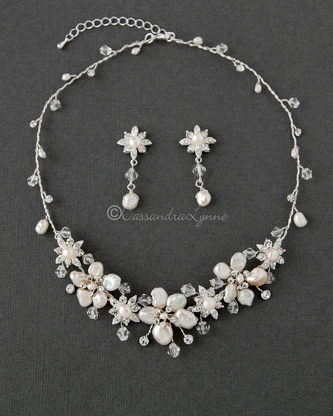 Bridal Necklace of Keshi Pearls and Crystals