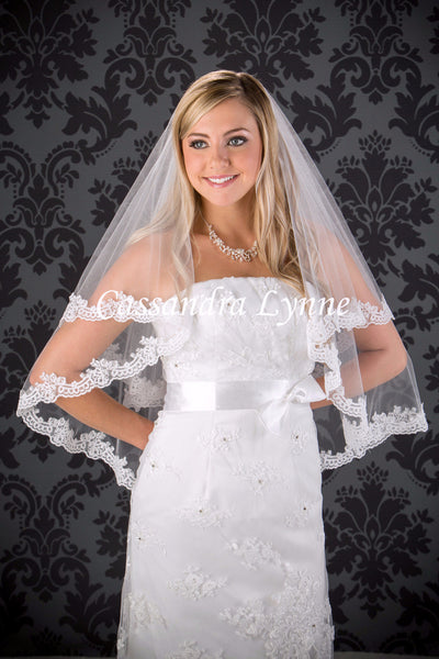 Lace Wedding Veil Two Tier Waist Length