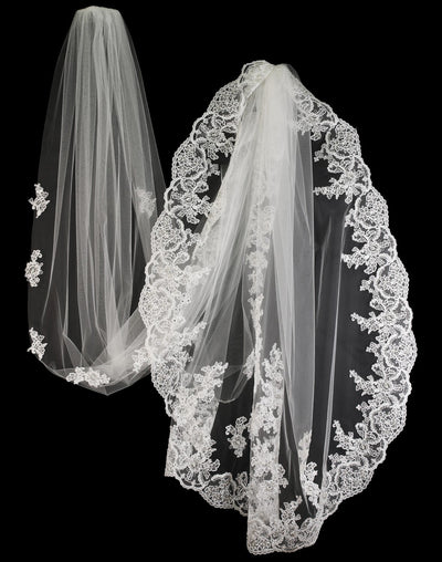 Ivory Royal Lace Wedding Veil with Pearls