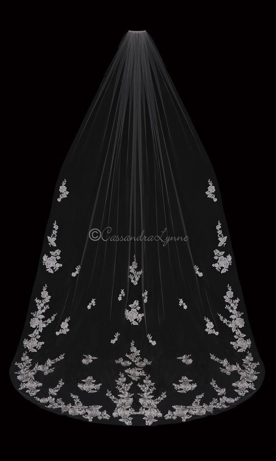 Cathedral Veil with Lace Scatter and Pearls