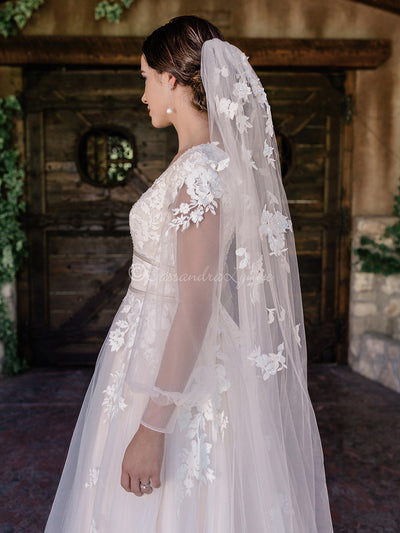 Waltz Wedding Veil with Lace Scatter