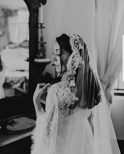 Lace Wedding Veil with 5 Inch French Alencon Lace