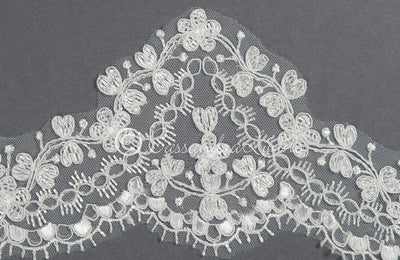 Mantilla Veil with Wide Lace Trim Detail