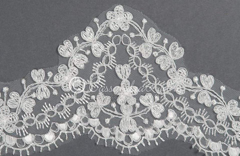Bridal Veil of Two Layers of Wide Lace Detail