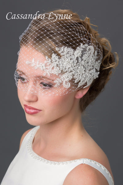 Bridal Visor Birdcage Veil with Beaded Lace Accent