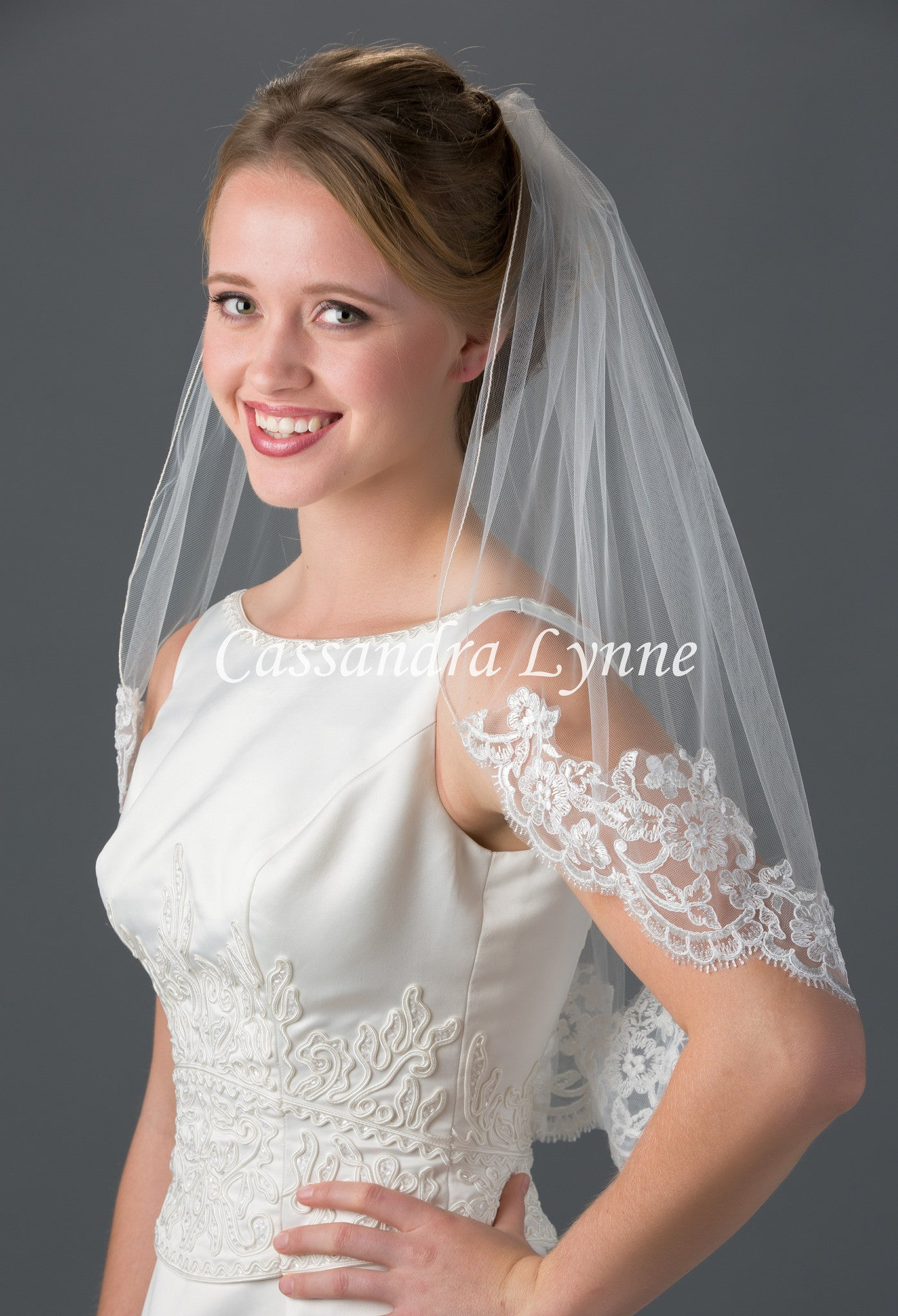 Lace on Bottom Wedding Veil with Corded Trim