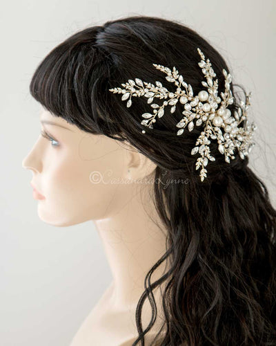 Light Gold Wedding Headpiece with Ivory Pearls