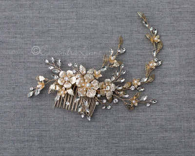 Light Gold Metal Flowers Decorative Comb