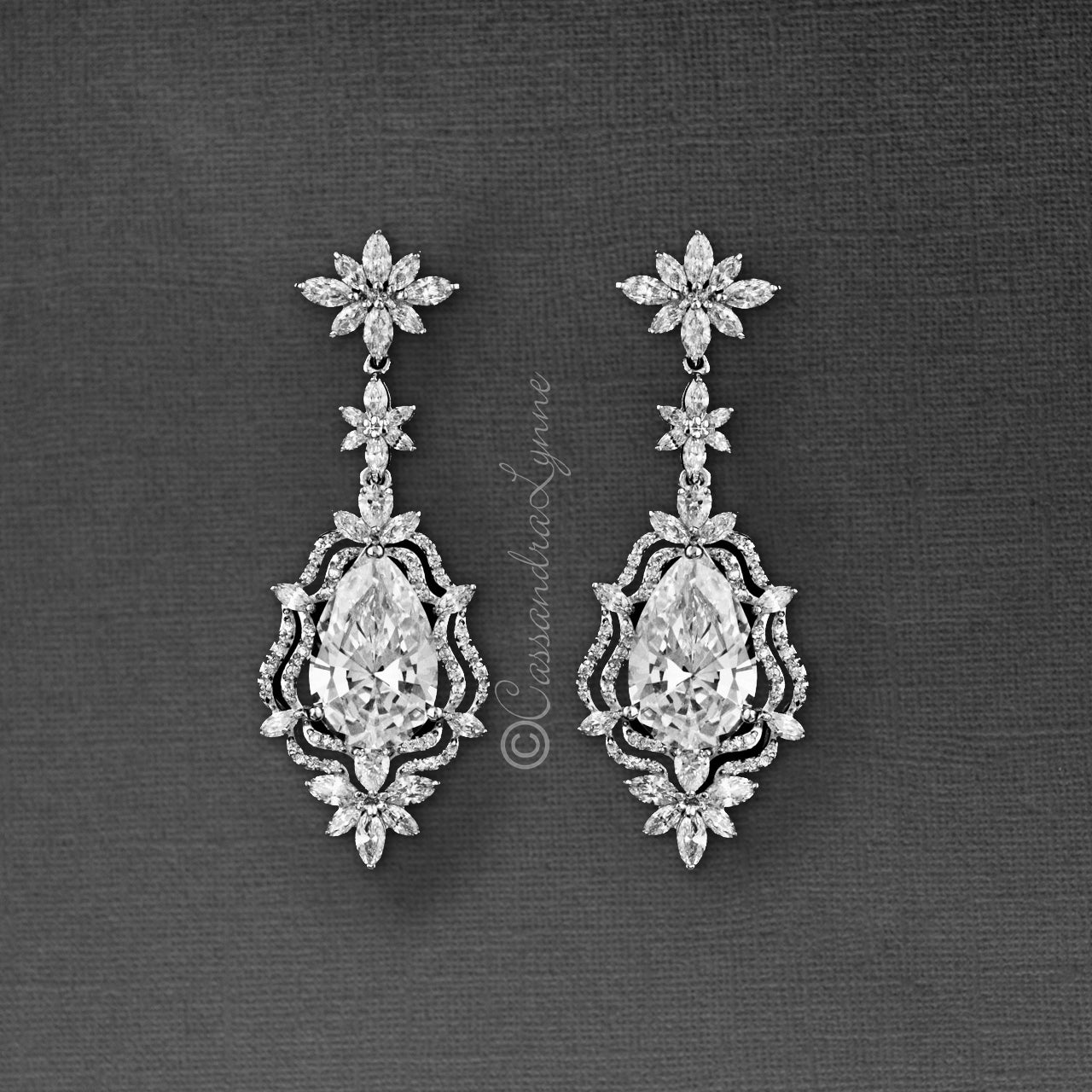 Vintage Bridal Earrings of CZ Pear Stones