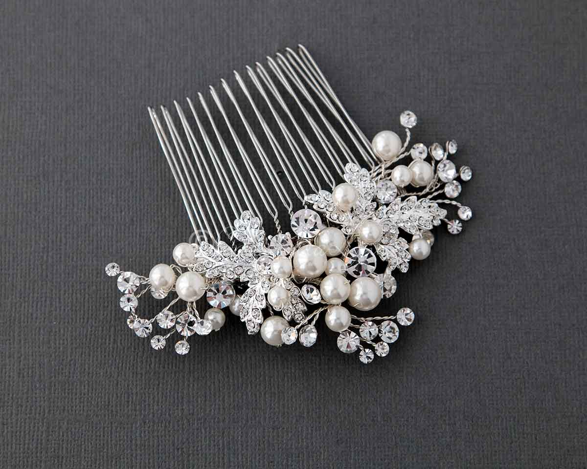 Pearl Bridal Hair Comb of Jeweled Leaves and Sprays